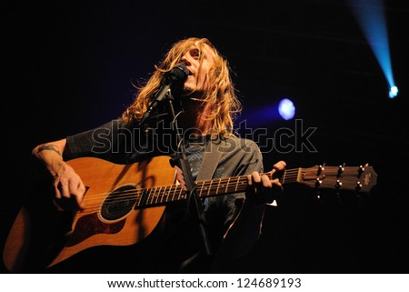BARCELONA, SPAIN - NOV 10: Dry the River band performs at Razzmatazz on November 10, 2012 in Barcelona. - stock photo