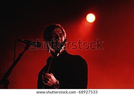 BARCELONA, SPAIN - NOV 14: Paul Banks, front man of Interpol, performs at Sant Jordi Club on November 14, 2010 in Barcelona, Spain. - stock photo