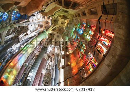"BARCELONA SPAIN - OCTOBER 30: ""La Sagrada Familia"", the cathedral designed by Gaudi, which is being build since 19 March 1882 with the donations of people, on October 30, 2010 in Barcelona Spain - stock photo"