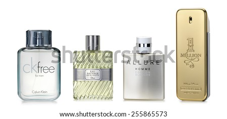 Barcelona-Spain- October 2014: Luxury fragrances for stylish man.  Fine and luxury brands: CK free by Calvin Klein, Eau Sauvage by C. Dior, Allaure Edition Blanche by Chanel, One Millon Paco Rabanne - stock photo