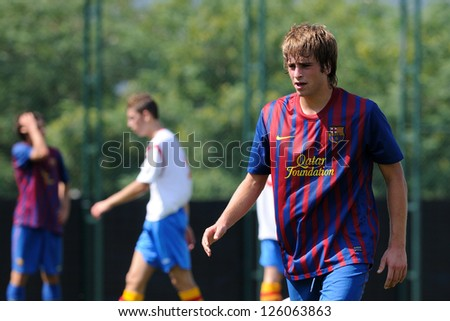 BARCELONA, SPAIN - SEP 11: Miguel Angel Sainz Maza plays with F.C Barcelona youth team against Manlleu on September 11, 2011 in Barcelona, Spain. - stock photo