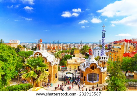 BARCELONA, SPAIN - SEPT 02,2014 :Gorgeous and amazing Park Guel in Barcelona.. Park Guell (1914) is the famous architectural town art designed by Antoni Gaudi. Event September 02, 2014 in Barcelona - stock photo