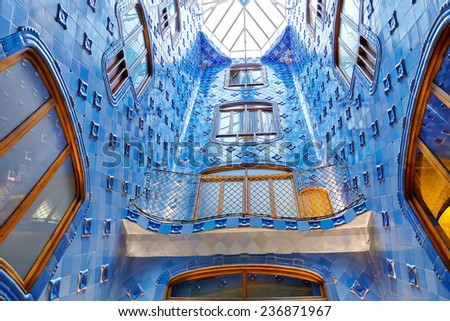 BARCELONA, SPAIN - SEPT  04, 2014: Interior and inner chambers Gaudi's  creation house Casa Batlo. Casa Batllo was built in 1877 by Antoni Gaudi, and now commissioned by Lluis Sala Sanchez. - stock photo