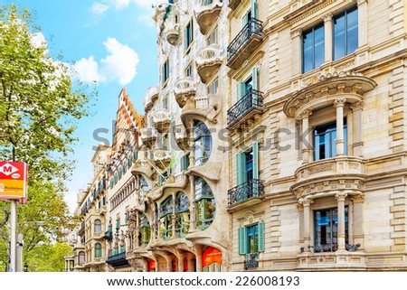 BARCELONA, SPAIN - SEPT  04, 2014: Outdoor view  Gaudi's  creation-house Casa Batlo.  Casa Batllo was built in 1877 by Antoni Gaudi, and now commissioned by Lluis Sala Sanchez.  - stock photo