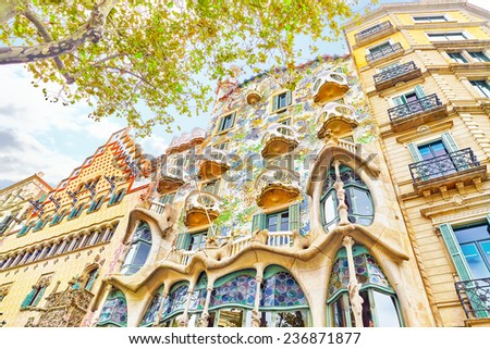 BARCELONA, SPAIN - SEPT  04, 2014: Outdoor view  Gaudi's  creation-house Casa Batlo. The building that is now Casa Batllo was built in 1877 by Antoni Gaudi.    September 04, 2014 in Barcelona, Spain. - stock photo