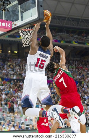 BARCELONA, SPAIN - SEPTEMBER 6: Andre Drummond of USA Team at FIBA World Cup basketball match between USA and Mexico, final score 86-63, on September 6, 2014, in Barcelona, Spain. - stock photo