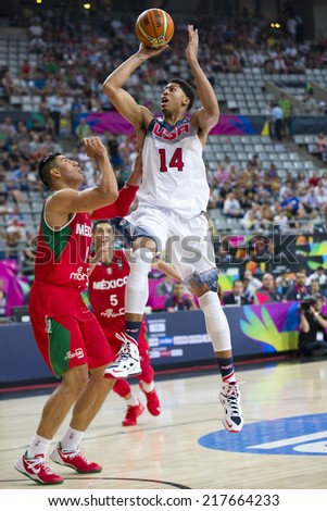 BARCELONA, SPAIN - SEPTEMBER 6: Anthony Davis of USA Team (14) at FIBA World Cup basketball match between USA and Mexico, final score 86-63, on September 6, 2014, in Barcelona, Spain. - stock photo
