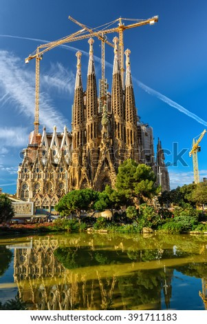 Barcelona, Spain - September 24, 2015: Basilica of La Sagrada Familia. It is designed by architect Antonio Gaudi and is being build since 1882. - stock photo