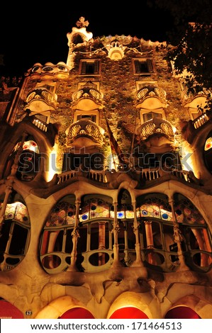 BARCELONA, SPAIN - SEPTEMBER 10: Casa Batllo at night on September 10, 2012 in Barcelona, Spain. The famous building was designed by Antoni Gaudi - stock photo