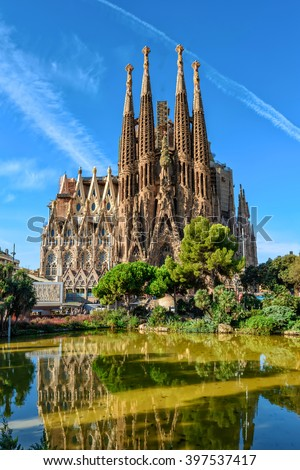 Barcelona, Spain - September 24, 2016: Cathedral of La Sagrada Familia. It is designed by architect Antonio Gaudi and is being build since 1882. - stock photo