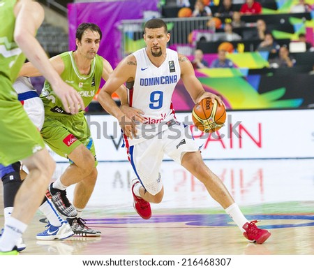 BARCELONA, SPAIN - SEPTEMBER 6: Francisco Garcia of Dominican Republic (9) at FIBA World Cup basketball match between Slovenia and Dominican Republic, 71-61, on September 6, 2014, in Barcelona, Spain. - stock photo