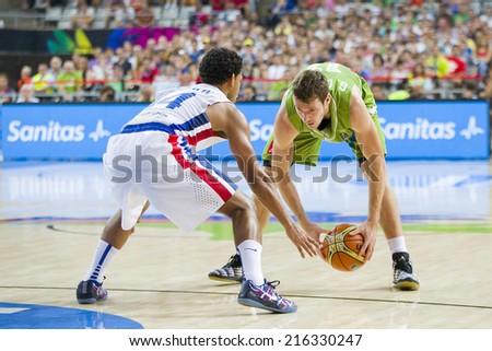 BARCELONA, SPAIN - SEPTEMBER 6: Goran Dragic of Slovenia at FIBA World Cup basketball match between Slovenia and Dominican Republic, final score 71-61, on September 6, 2014, in Barcelona, Spain. - stock photo