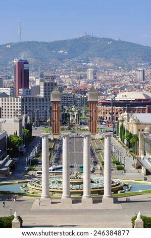 BARCELONA, SPAIN - SEPTEMBER 27, 2011: Great Montjuic fountains in Barcelona, the capital city of the autonomous community of Catalonia in Spain. photo of Montjuic fountains on September 27, 2011 - stock photo
