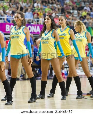 BARCELONA, SPAIN - SEPTEMBER 6: Khimki Dancers cheerleaders at FIBA World Cup basketball match between Slovenia and Dominican Republic, final score 71-61, on September 6, 2014, in Barcelona, Spain. - stock photo