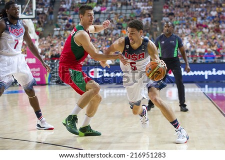 BARCELONA, SPAIN - SEPTEMBER 6: Klay Thompson of USA Team (5) in action at FIBA World Cup basketball match between USA and Mexico, final score 86-63, on September 6, 2014, in Barcelona, Spain. - stock photo
