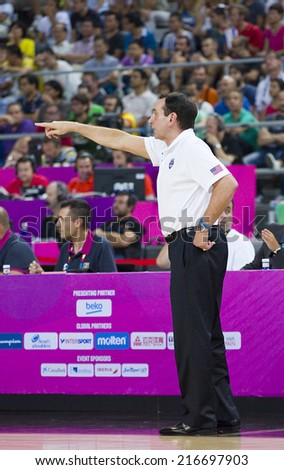 BARCELONA, SPAIN - SEPTEMBER 11: Mike Krzyzewski, coach of USA, at FIBA World Cup basketball match between USA Team and Lithuania, final score 96-68, on September 11, 2014, in Barcelona, Spain. - stock photo