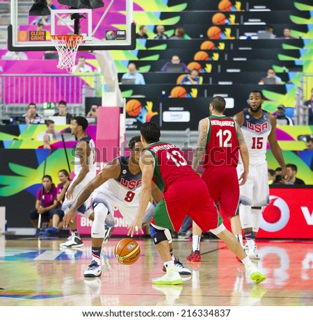 BARCELONA, SPAIN - SEPTEMBER 6: Orlando Mendez of Mexico Team at FIBA World Cup basketball match between USA and Mexico, final score 86-63, on September 6, 2014, in Barcelona, Spain. - stock photo