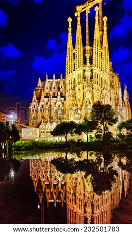 BARCELONA, SPAIN - SEPTEMBER 02: Sagrada Familia,beautiful and majestic  outdoor  view on September 02, 2014 in Barcelona, Spain. Designed by Antoni Gaudi - stock photo