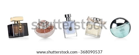 Barcelona-Spain- 12th December 2015- Studio shot of distinguished perfume brands for women and men photographed in a dynamic and funny positions.Gucci- Guerlain- Verssace-Chloe - stock photo