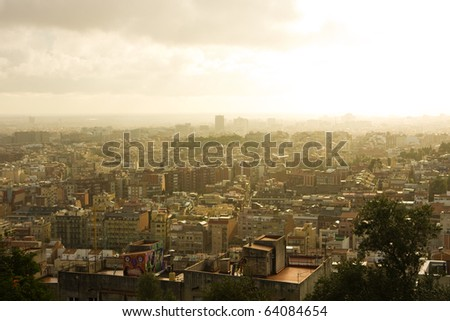 Barcelona sunset in the park Guel - stock photo