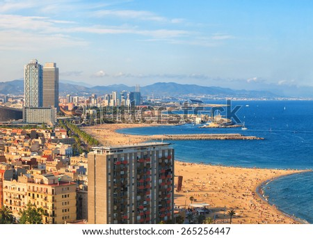 Barcelonetta beach luxury beach and quay, Barcelona, Spain - stock photo