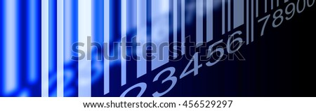 Barcode banner Blue and white perspective illustration - stock photo