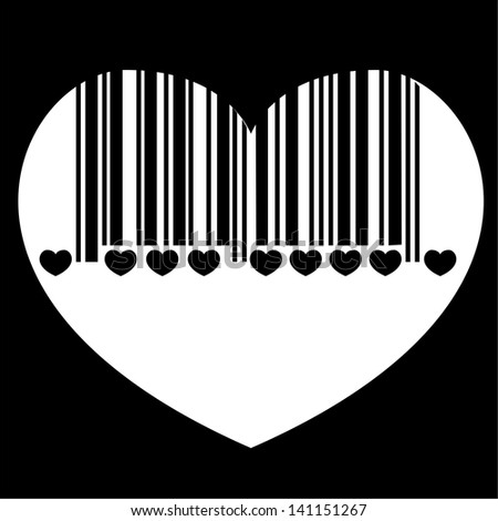barcode heart, - stock photo