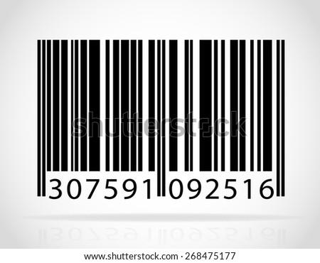 barcode illustration isolated on white background - stock photo