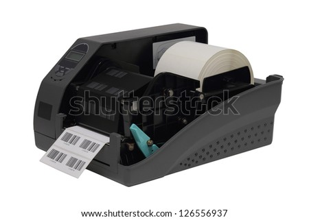 Barcode label printer isolated over white background - stock photo