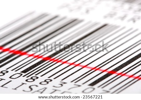Barcode label with red laser beam. Macro shot, shallow DOF. Perfect background for your warehouse concepts artwork. - stock photo