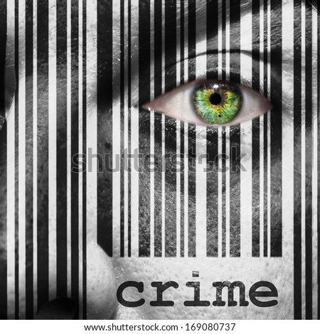 Barcode with the word crime as concept superimposed on a man's face - stock photo
