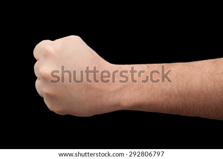 barcoded hand on black background - stock photo
