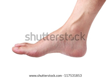 Bare male foot isolated on white - stock photo