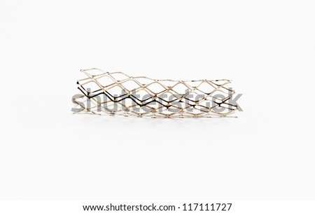 bare metal baloon-sexpandable stent for endovascular surgery - stock photo