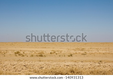 bare steppe of Kazakhstan - stock photo