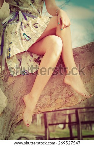 barefoot woman legs, sit on tree in romantic summer dress, retro colors - stock photo