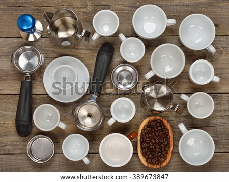 Barista equipment on a wooden background - stock photo