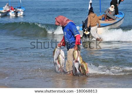Barka, Oman - Jan 03: a fisherman returns from fishing on January 03, 2014. Barka, Oman. - stock photo