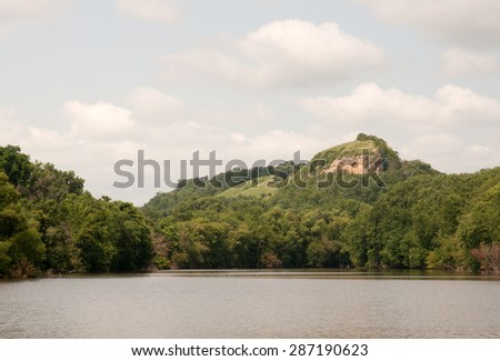 Barn Bluff along Mississippi River in Red Wing, Minnesota - stock photo