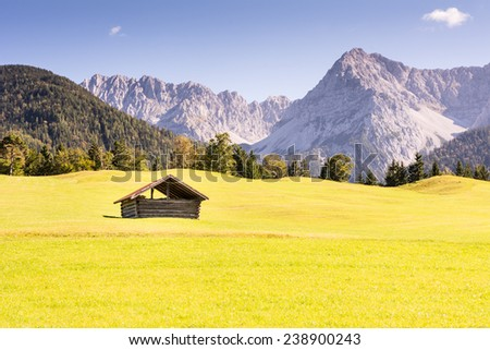 Barn in the Karwendel mountains of Bavaria (Germany) - stock photo