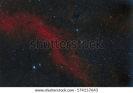 Barnard's Loop and M78 Wide Field imaged in narrow band - stock photo