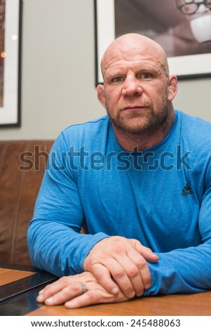 BARNAUL, RUSSIA - November 28, 2014: Jeffrey William Monson, American mixed martial artist, world champion, before the fight with Russian fighter Ilya Sheglov on November 28, 2014 in Barnaul, Russia - stock photo