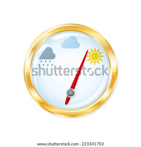 Barometer indicates sunny weather. 2d illustration - stock photo