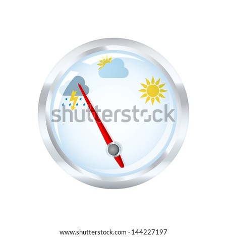 Barometer measuring indicates rainy weather. 2d illustration. - stock photo