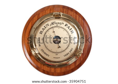 Barometer showing rainy weather isolated on white - stock photo