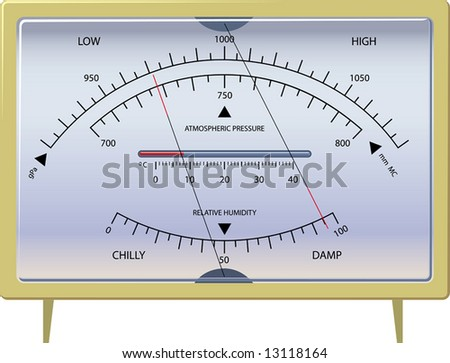 barometer. the device for measurement of a condition of weather. vector. illustration. - stock photo