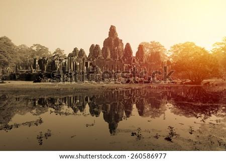 Baron Castle, Angkor Thom, Cambodia. Vintage filter. - stock photo