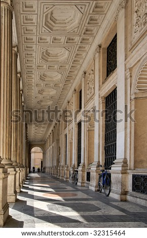 Baroque arcade in Rome - stock photo