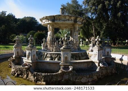 Baroque Fountain in the Villa Pamphili public park, Rome, Italy - stock photo