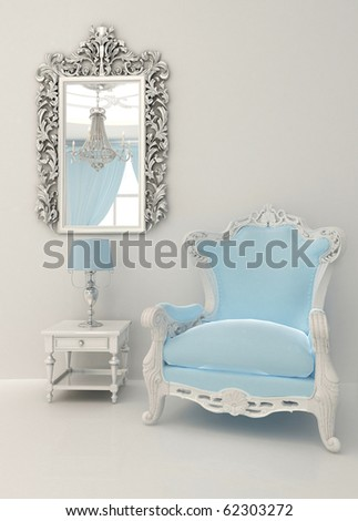 Baroque furniture in luxury interior - stock photo